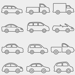 Cars, vans and truck line icons
