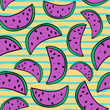 Seamless watermelon cute hand drawn doodle summer pattern with punchy pastel colors