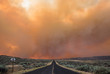 Smoke Looms Over Empty Road Though Scrub Lands, Grass Valley Wild Fire, Electric City Washington