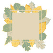 Vector frame with hand-drawn autumn leaves. Vector sketch  illustration.