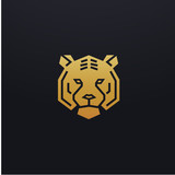 Stylized tiger head icon illustration. Vector glyph, tribal feline wild animal design with golden color