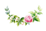 Watercolor vector hand painting wreath of pink flowers and green leaves. - 217645208