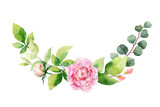 Watercolor vector hand painting wreath of pink flowers and green leaves. - 217645216