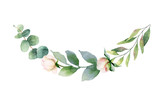 Watercolor vector hand painting wreath of pink flowers and green leaves. - 217645231