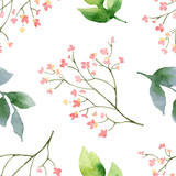 Watercolor vector hand painting seamless pattern of pink flowers and green leaves. - 217645266
