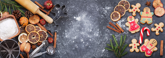Ingredients for cooking Christmas baking and gingerbread cookies, top view © Nitr