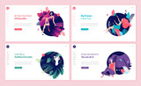 Set of web page design templates for beauty, spa, wellness, natural products, cosmetics, body care, healthy life. Modern vector illustration concepts for website and mobile website development.  - 217647698