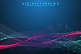 Technology abstract background with connected line and dots. Big data visualization. Perspective backdrop visualization. Analytical networks. Vector illustration.