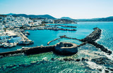 Ancient ruins of Venetian castle in the harbor of Naoussa town, view from above, Paros island, Greece - 217653842