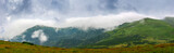 Mountain ridge and highland valley in the Carpathian Mountains