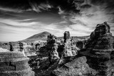 rocks in canyon, black and white photo