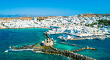 Ancient ruins of Venetian castle in the harbor of Naoussa town, view from above, Paros island, Greece - 217655014