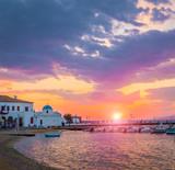 amazing view to Mykonos embankment at sunset, Greece - 217658632