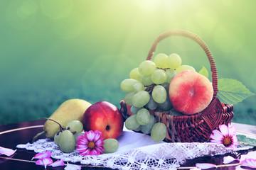 Fruit basket isolated on green background. Nature background.