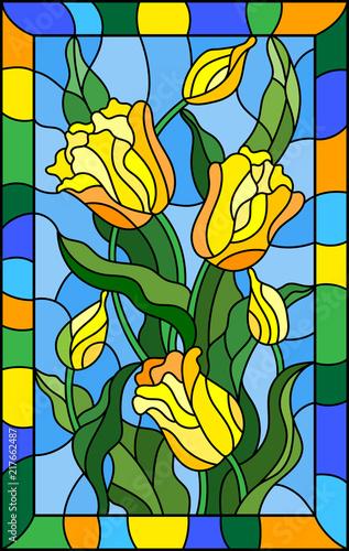 ilustracja-w-witrazu-stylu-z-bukietem-zolci-tulipany-na-blekitnym-tle