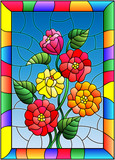 Illustration in stained glass style with flowers, buds and leaves of  zinnias on a blue background in bright frame