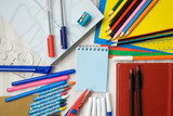 school supplies on a white table - 217664082