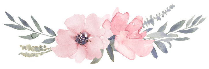 Bouquet composition decorated with dusty pink watercolor flowers and eucalyptus greenery © anamad
