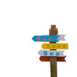 Colorful wooden sign
