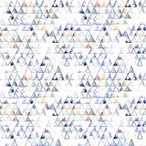 Seamless pattern with abstract geometric triangles. Watercolor spots, shapes, beautiful paint stains like cosmic nebula. Background for parties, holidays, birthdays. - 217676801