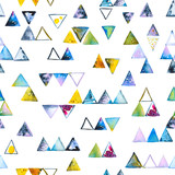 Seamless pattern with abstract geometric triangles. Watercolor spots, shapes, beautiful paint stains like cosmic nebula. Background for parties, holidays, birthdays. - 217676833