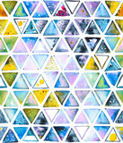 Seamless pattern with abstract geometric triangles, bee honeycomb. Watercolor spots, shapes, beautiful paint stains like cosmic nebula. Background for parties, holidays, birthdays. - 217677244