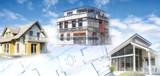 Häuser und Rohbau mit Bauplänen