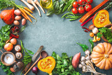 Healthy or vegetarian nutrition concept with selection of organic autumn fruits and vegetables - 217679889