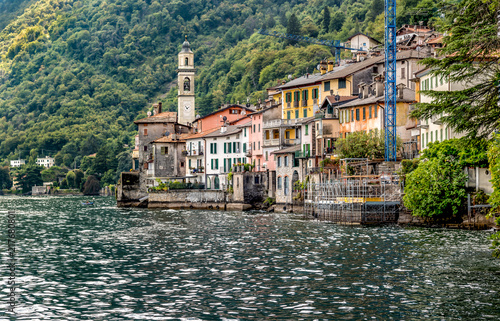 Brienno is a small ancient village on the shore of Lake Como, Lombardy, Italy - 217680801