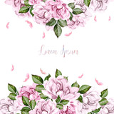 Watercolor wedding card with peony flowers.  - 217684895
