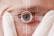 Leinwanddruck Bild - Eye monitoring virtual reality health digital in the health network.
