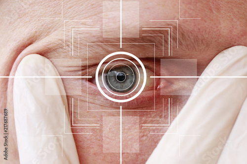 Leinwanddruck Bild Eye monitoring virtual reality health digital in the health network.