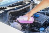 Hand of mechanic filling in cooling liquid - 217688044