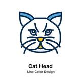 Cat Head Line Color Icon