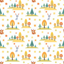 Autumn Seamless Pattern  Cute Forest Animals In Cartoon Style Childhood   Sticker