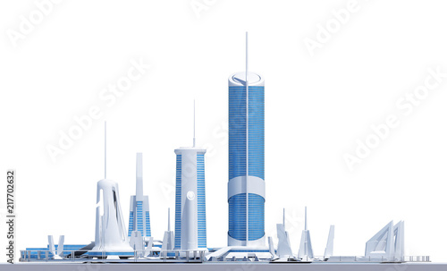 complex of futuristic buildings - 217702632
