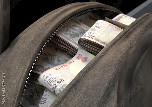 Foto Murales Illicit Cash In A Brown Duffel Bag
