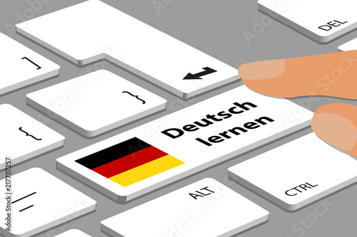 German Keyboard With White Button Learn German - Computer Or Laptop With Fingers And German Flag - Vector Illustration