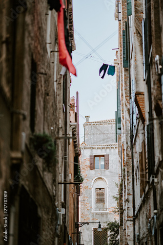 Laundry hanging to dry in Venice alley