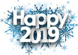 Happy 2019 winter background with blue snowflakes.