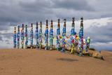Shaman Poles in Khuzhir on island Olkhon
