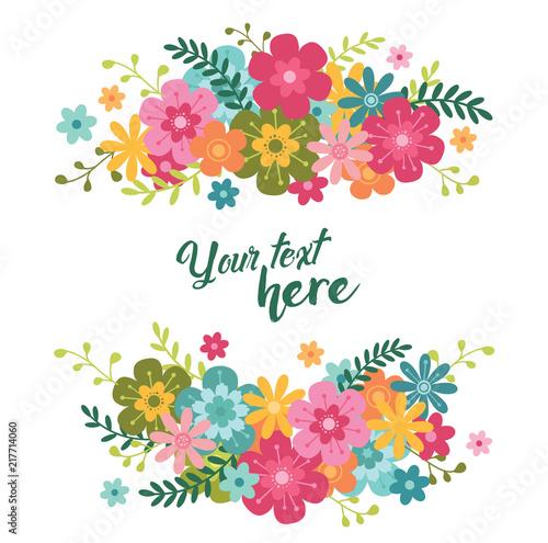 Letni i spiralny transparent. Tło z kwiatami i liśćmi w kolorze pastelowym. Ilustracji wektorowych wzorów ludowych na plakaty, kupony, materiały promocyjne.