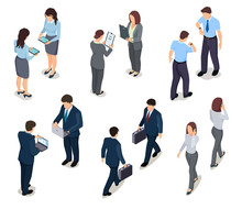 Isometric Business People 3d Men And Women Crowd Of Persons Businessman And Businesswoman  Characters In Office Clothes Sticker