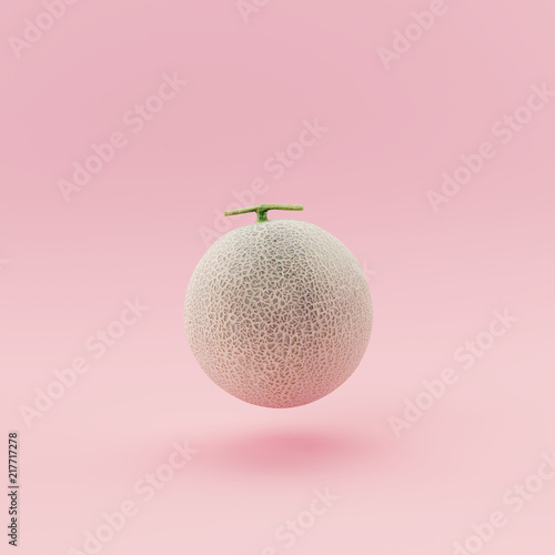 Melon on pastel pink background minimal concept. © aanbetta