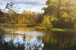 Leinwanddruck Bild - Forest lake in autumn. Calm nature background