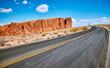 Quadro Scenic road with unique rock formations, travel concept, Nevada, USA.