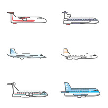 Commercial Airplane Icon Flying View From Side Sticker