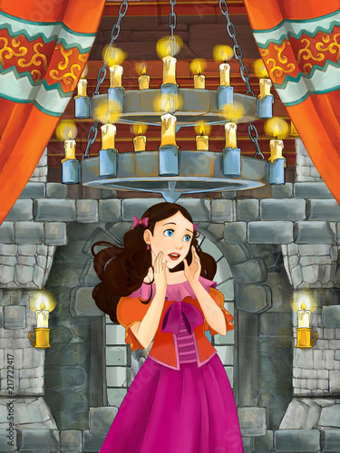 cartoon scene with beautiful girl - princess in castle room - illustration for children - 217722417