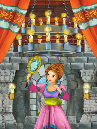 cartoon scene with beautiful girl - princess in castle room - illustration for children - 217722699
