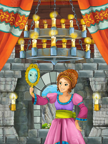 cartoon scene with beautiful girl - princess in castle room - illustration for children - 217722865